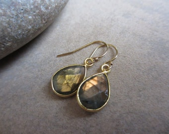 Peach Labradorite Earrings, Gold, Teardrop, Everyday Earrings, Irisjewelrydesign