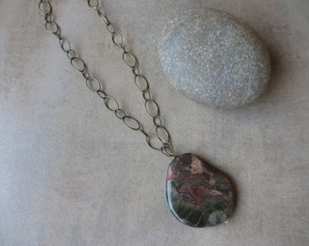 Large Pendant Necklace,  Olive Green, Orange,  Earth Tone, Fall, Autumn, Ocean Jasper, Antiqued Brass, Irisjewelrydesign