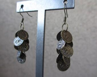 Coin Earrings, Antiqued Brass, Dangle, Long Earrings, Bohemian, Boho, Irisjewelrydesign