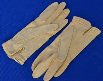Vintage Leather Gloves in Ivory - Made in Italy