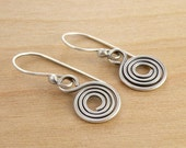 Spiral Earrings, Sterling Silver Spirals, Sterling Silver Wire Work, Rustic Spirals, Everyday Earrings, Dangle Earrings, Rustic, #4221