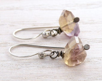 Ametrine Gemstone Earrings, Lavender and Yellow, Rustic Faceted Beads, Wire Wrapped, Oxidized Sterling Silver #4311