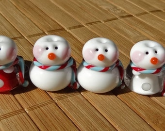Little Snowman Set Dotted Pairs with Red and Blue Scarves--Handmade LAMPWORK Beads