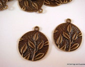 6 Antique Bronze Leaf Charm Flat Round Pendant Drops w Leaves 22x19mm - 6 pc - DC3011-AB6