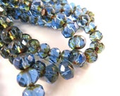25 Czech Sapphire Picasso Rondelle Transparent Blue Beads 6x4mm - 25 pc - G6043-SPP25