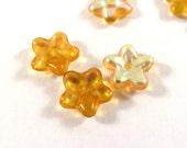 25 Czech Glass Flowers Amber AB 5 Petal Topaz Bead Caps 8x3mm for 6mm+ Beads - 25 pc - 6506-AM-19