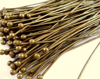 100 Ball Headpins Antique Bronze 2.25 inch Brass Ball Pins 20-21 Gauge 1.5mm Ball - 100 pc - F4130BHP-AB100