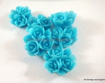 BOGO - 6 Blue Triple Rose Cabochon Cluster 16mm - No Holes - 6 pc - CA2014-B6 - Buy 1, Get 1 Free - No coupon required