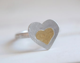 Amour ring. Sterling silver ring with 24kt gold. Heart ring, Love ring, Heart shape, Koum boo, gold ring, Plaqué or, Amour, Silver and Gold.