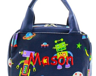 Personalized Lunch Bag Robots Insulated Monogrammed