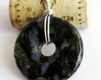 Stone Pendant Wire Wrapped Stone Necklace Wire Blue Riolita Rhiolite Donut Natural Jewelry by Hendywood