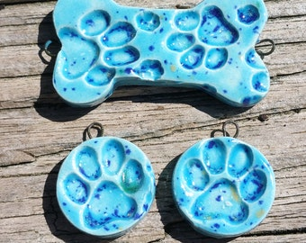 Dog Bone Paw Print Focal Charm Pendant Pair Set Blue Spots- Ceramic Clay Pottery Artist Handmade Beads Cat Animal Pet Furry Friend