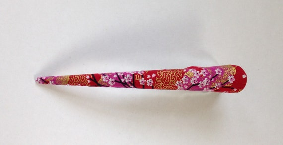 Large Hair Clip - Japanese Fabric Covered, Hair Accessory, Cherry Blossom, Flower, Pink and Red, Metal Concord Clip, Beak Clip, Handmade