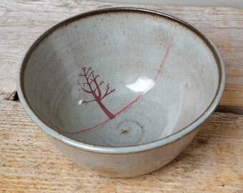 Black Ceramic Tree Cereal Bowl