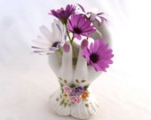 "Ceramic Two Hands Vase with Applied Flower cuff, 3"" x 5"" x 7"", Opening at top for bouquet, photo prop for jewelry, white hands vase"