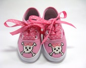 Pirate Shoes, Skull and Crossbones Hand Painted Hot Pink Sneaker, For Babies and Toddlers, Pirate Birthday Party