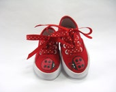 Girls Ladybug Shoes, Kids Hand Painted Red Canvas Sneakers, Ladybird Birthday, Baby and Toddler