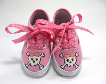 Pirate Shoes, Skull and Crossbones on Hot Pink Sneakers Hand Painted for Baby or Toddler, Pirate Theme Costume or Birthday Party