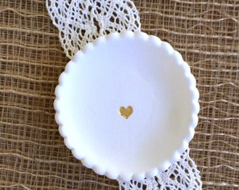 Tiny Biscuit Ring Dish with Metallic Gold Heart, Earring Dish, Ring Dish, Ready to Ship