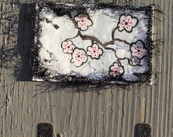 Hand Painted  Fabric Postcard Cherry Blossom Quilted Pink Black Flowers Spring Fiber Art