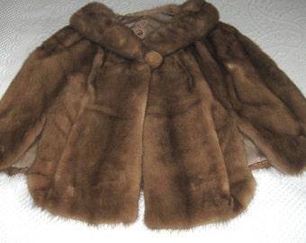 Vintage Genuine mink cape . retro mink cape . 50s mink cape