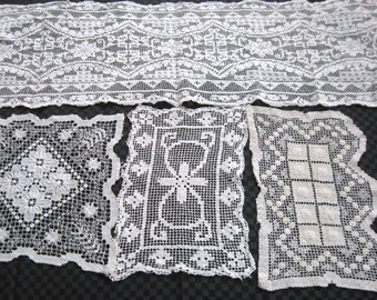 filet needle lace . lot of 4 . filet doily . filet table runner . lace doily . art deco doilies . darned filet . victorian net embroidery