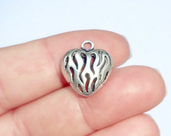 5, FIRE Heart, Firefighter, Fireman, Pendant, Charms, Hollow (double sided puffed) 16x19x7mm, Hole:Approx 2mm