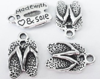 "50 BULK Flip Flop Sandal ""made with ""heart"" & sole"" Charms 19x9x2mm ITEM:J19"