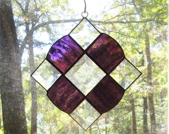 Stained Glass Suncatcher - Victorian in Purple with Clear Bevels