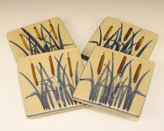 Set of Pottery Coasters - Vintage Labaire Pottery - Cattail Design in Blue and Brown