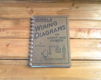 Vintage Wiring Diagrams Notebook / Recycled Science Book Journal