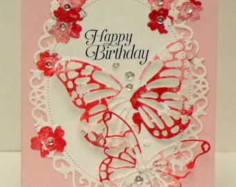 Lacey Butterfly Birthday card 2...die cut butterflies...hand stamped background...partial embossing...Stampin'Up! stamps...beautiful colors!