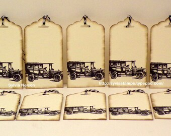 Antique Car Tags...set of 10 Tags..Antique distressed tags...gift tags...journal tags...scrapbooking...Birthday tags...hand stamped!