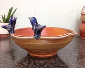 Blue Birds Lobed Dish with Double Rim (Large size #2)