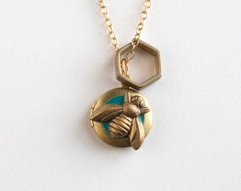 Bee Necklace - Honeybee Necklace - Bee Locket - Honeybee Locket - Tiny Locket - Bee Charm - Hexagon Charm