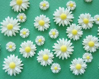 10 pcs Assorted White Daisy Cabochon (12mm-26mm) FL452