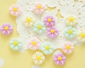 16 pcs  Glossy Pastel Daisy Flower Cabochon (13mm) FL431