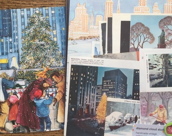 Christmas and Winter in New York City Vintage Collage, Scrapbook and Planner Kit Number 1944