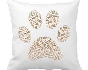 Personalized Dog Paw Pillowcasse Pillow Cover Dog Breed Home Decor Bed Cushion