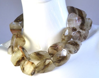 Gold Brown Rutilated Quartz Statement Necklace