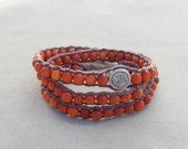 Clay Ohm and Reclaimed Wood Hemp Wrap Bracelet - Natural Zen