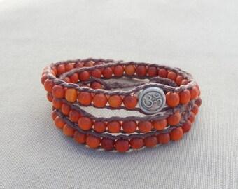 Clay Ohm and Reclaimed Wood Hemp Triple Wrap Bracelet - Natural Zen