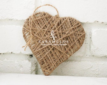 Large Rustic Jute Twine Wrapped Heart Ornament