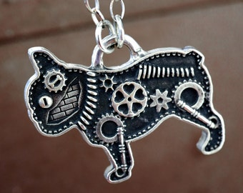 Industrial French Bulldog Necklace Steampunk Silver Gear Bricks Pet Pendant