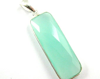 Bezel Pendant with Bail-Peru Chalcedony- Sterling Silver Pendant, Bezel Pendant Ready for Necklace, Rectangle Bar Shape-40mm-601114-PER