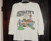 Vintage 80s Athletes Feet White Thermal Shirt L As Is