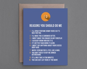 """Funny Love Greeting Card. Anniversary, Valentine's Day. Naughty, Sexy, Hilarious. For Boyfriend, Girlfriend, Husband, Wife. """"Do Me"""" (CL101)"""