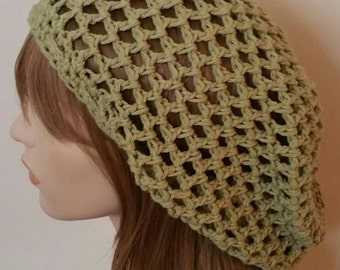 Cotton Open Stitch Slouchy Beanie in Tavern Green