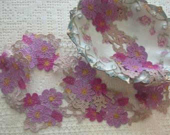 Hand Dyed Lace, Lavender, Fuchsia, Flower Design Venise Lace, Embellishment, Venise Lace