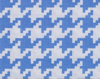 Michael Miller Everyday Houndstooth Boy Blue - Cotton Quilting Fabric  - fat 1/4 remnant